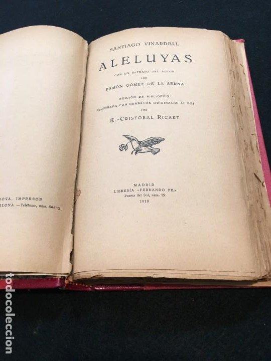 Libros antiguos: Santiago Vinardell. Aleluyas. Grabados Originales al Boj por E.- Cristóbal Ricart. Ded. Autóg. 1919. - Foto 3 - 193611587