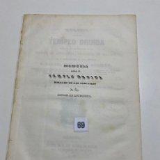 Livros antigos: MEMORIA SOBRE EL TEMPLO DRUIDA HALLADO EN LAS CERCANIAS DE ANTEQUERA , MALAGA 1847. Lote 193710806