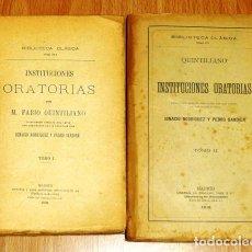 Libros antiguos: INSTITUCIONES ORATORIAS (BIBLIOTECA CLÁSICA ; CIII-CIV) / POR M. FABIO QUINTILIANO (2 VOL.). Lote 194008696