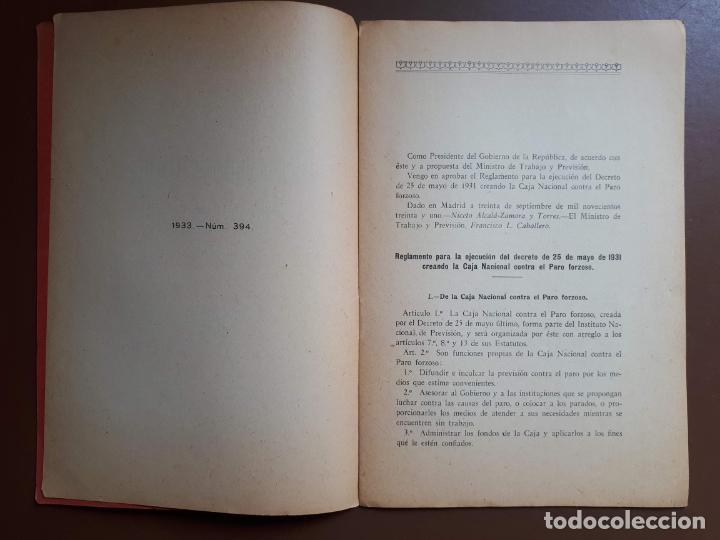 Libros antiguos: Caja Nacional contra el Paro Forzoso - Decreto 1931 - Foto 3 - 194196302