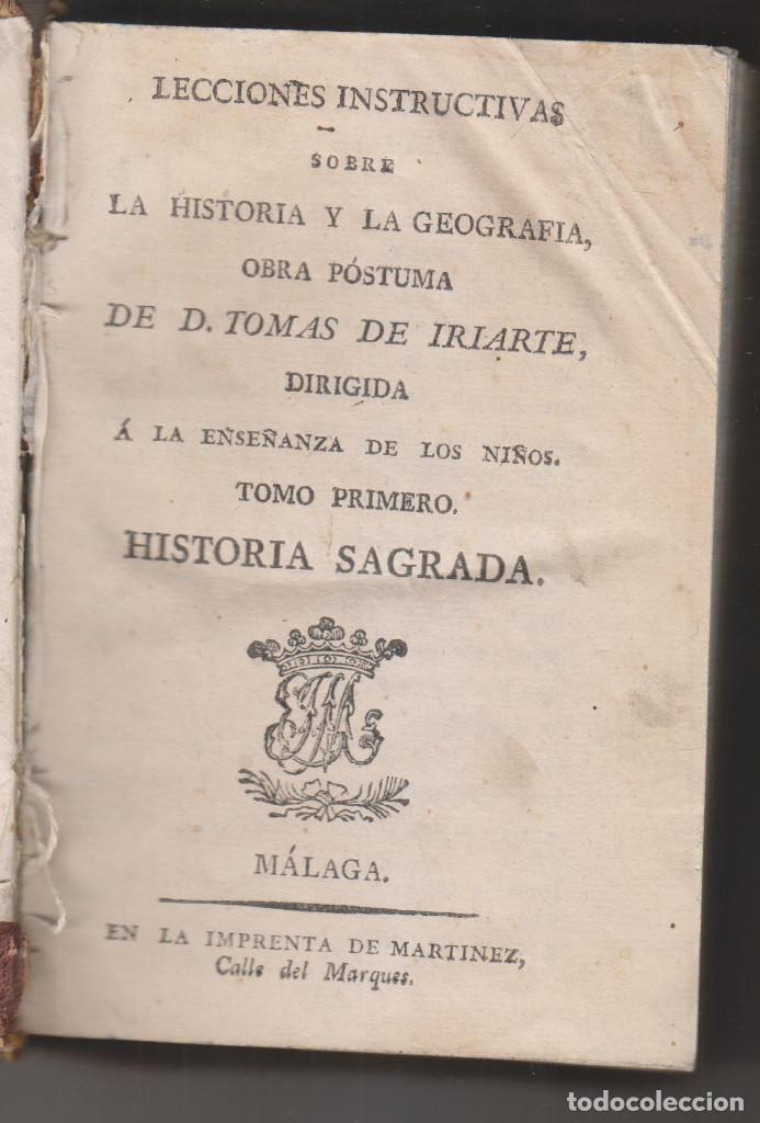 TOMÁS DE IRIARTE: LECCIONES INSTRUCIVAS SOBRE LA HISTORIA Y LA GEOGRAFÍA. 3 TOMOS. PUERTO DE LA CRUZ (Libros Antiguos, Raros y Curiosos - Historia - Otros)