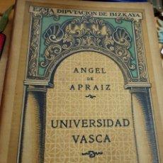 Libros antiguos: UNIVERSIDAD VASCA CONFERENCIA ÁNGEL DE APRAIZ JUNTA DE CULTURA VASCA AÑO 1919. Lote 194309063