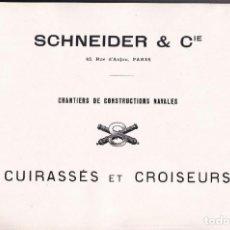 Libros antiguos: SCHNEIDER. CONSTRUCCIONES NAVALES. CRUCEROS Y ACORAZADOS. ASTILLEROS. Lote 194369775