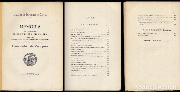 Libros antiguos: Anales de la Universidad de Zaragoza. Memoria de los Cursos 1918 , 1919, 1920, 1921, y 1923. 1924. - Foto 2 - 194400963