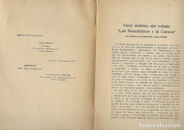Libros antiguos: VALOR SINTETICO DEL TRABAJO - LOS BENEDICTINOS Y LA CIENCIA - DR. LOPEZ PELAEZ - 1927 - Foto 2 - 194492802