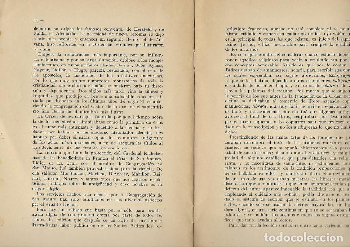 Libros antiguos: VALOR SINTETICO DEL TRABAJO - LOS BENEDICTINOS Y LA CIENCIA - DR. LOPEZ PELAEZ - 1927 - Foto 3 - 194492802