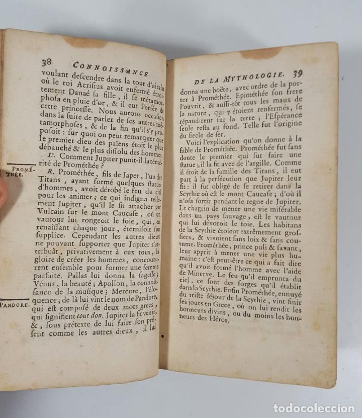 Libros antiguos: CONNOISSANCE DE LA MYTHOLOGIE PAR DEMANDES ET PAR RÉPONSES. LES FRERES PERISSE LYON. 1782. - Foto 10 - 148156070