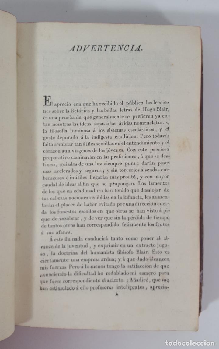Libros antiguos: COMPENDIO DE LAS LECCIONES SOBRE LA RETÓRICA Y BELLAS LETRAS. HUGO BLAIR. TOLOSSA. 1819. - Foto 11 - 148324234