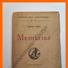 Libros antiguos: MEMORIAS - ENRIQUE HEINE - COLECCIÓN UNIVERSAL Nº 214. Lote 194587651