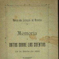 Libros antiguos: MONTE-PIO CATALÁN DE QUINTAS MEMORIA Y DATOS SOBRE LAS CUENTAS 1888 SERVICIO MILITAR . Lote 194606698
