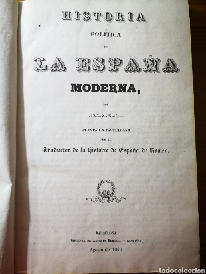 Libros antiguos: 1840 - Historia Política de la España Moderna, por el Señor de Marliani - Foto 3 - 194639316