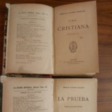 Libros antiguos: UNA CRISTIANA + LA PRUEBA / EMILIA PARDO BAZÁN (2 VOL. LA ESPAÑA EDITORIAL). Lote 194667975