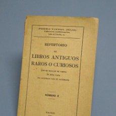 Libros antiguos: REPERTORIO DE LIBROS ANTIGUOS RAROS O CURIOSOS - NÚMERO 3 - MADRID 1919. Lote 194706008
