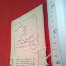 Libros antiguos: TUBAL 1943 FALANGE JUNTA CENTRAL DE RECOMPENSAS Y DISTINCIONES B48. Lote 194775996