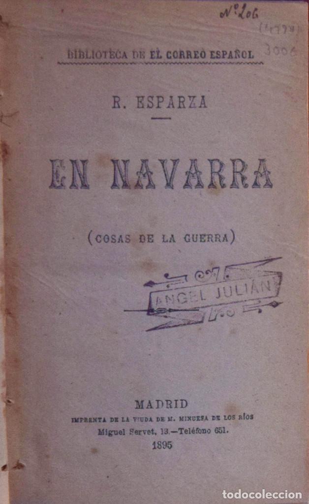 EN NAVARRA (COSAS DE LA GUERRA) - RAMÓN ESPARZA E ITURRALDE (Libros Antiguos, Raros y Curiosos - Historia - Otros)