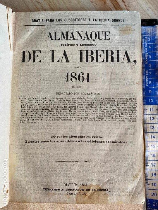 ALMANAQUE POLÍTICO Y LITERARIO DE LA IBERIA PARA 1861 (Libros Antiguos, Raros y Curiosos - Literatura - Otros)