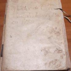 Libri antichi: MANRESA 1789. DOCUMENTO SOBRE COMERCIO SEDA. COMERCIANTE JOSEPH FUSTER Y BOS. COPIADOR CARTAS 1789.. Lote 195089412