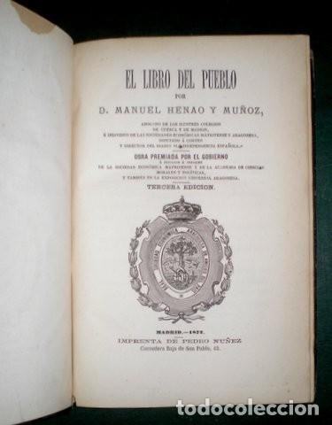 Libros antiguos: HENAO Y MUÑOZ, MANUEL: EL LIBRO DEL PUEBLO I y II. 1872 - Foto 3 - 195111118