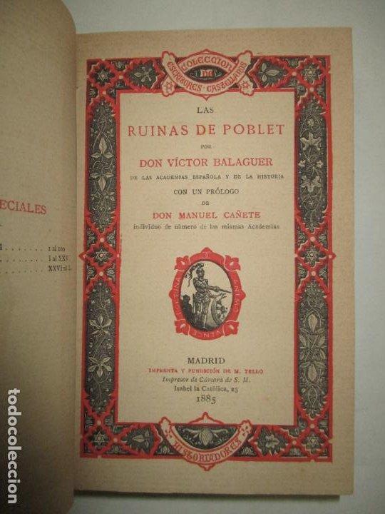 LAS RUINAS DE POBLET. BALAGUER, VÍCTOR. 1885. (Libros Antiguos, Raros y Curiosos - Historia - Otros)