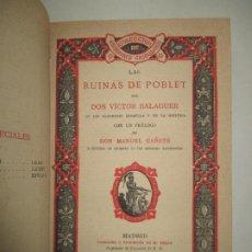 Libros antiguos: LAS RUINAS DE POBLET. BALAGUER, VÍCTOR. 1885.. Lote 195307476