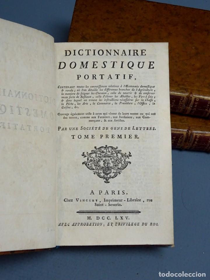 Libros antiguos: DICTIONNAIRE DOMESTIQUE PORTATIF - 3 VOLÚMENES - OBRA COMPLETA - PARIS 1765 - Foto 2 - 195312140