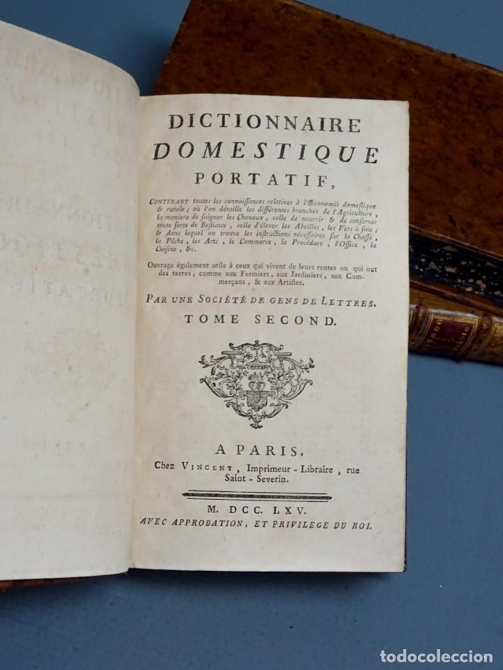 Libros antiguos: DICTIONNAIRE DOMESTIQUE PORTATIF - 3 VOLÚMENES - OBRA COMPLETA - PARIS 1765 - Foto 4 - 195312140