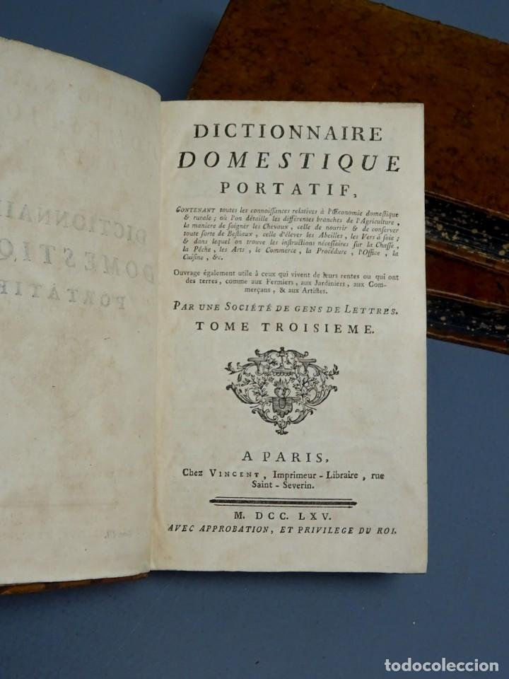 Libros antiguos: DICTIONNAIRE DOMESTIQUE PORTATIF - 3 VOLÚMENES - OBRA COMPLETA - PARIS 1765 - Foto 6 - 195312140