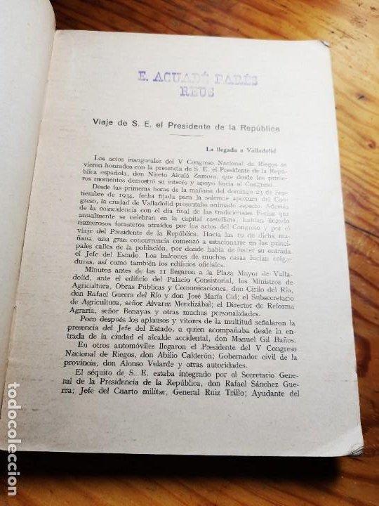 Libros antiguos: V Congreso Nacional de Riegos y Exposición aneja. Tomo III. - Foto 4 - 195344195