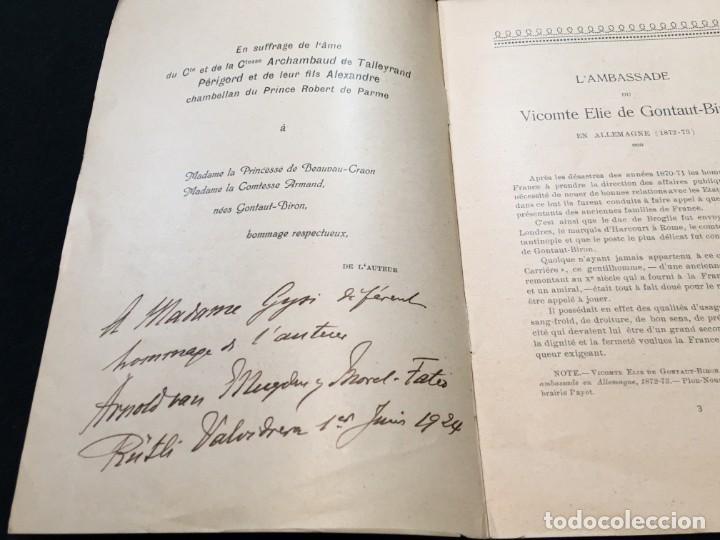 Libros antiguos: Arnold Van Muyden. LAmbassade du Vicomte Elie de Gontaut-Biron en Allemagne. Ded. Autógrafa. 1923. - Foto 2 - 195371693