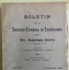 Libros antiguos: BOLETIN S. ESPAÑOLA EXCURSIONES- SAN MILLAN COGOLLA- GALERA- GRANADA- SAN VICENTE BARQUERA- 1.908. Lote 195391357