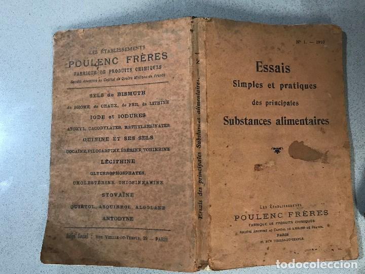 Libros antiguos: Essais simples et pratiques des principales Substances alimentaires. París, 1910. - Foto 2 - 195394386