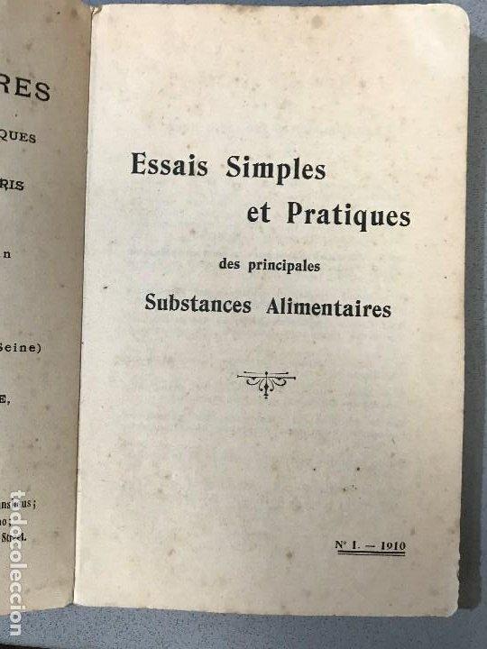 Libros antiguos: Essais simples et pratiques des principales Substances alimentaires. París, 1910. - Foto 5 - 195394386