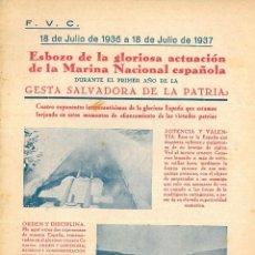 Libros antiguos: ESBOZO DE LA GLORIOSA ACTUACIÓN DE LA MARINA NACIONAL ESPAÑOLA DURANTE...VALLES COLLANTES, FRANCISCO. Lote 195394390
