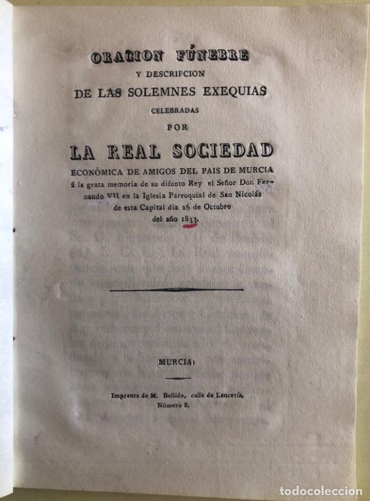 MURCIA- ORACION FUNEBRE FERNANDO VII- REAL SOCIEDAD ECONOMICA AMIGOS DEL PAIS- 1.833 (Libros Antiguos, Raros y Curiosos - Ciencias, Manuales y Oficios - Otros)