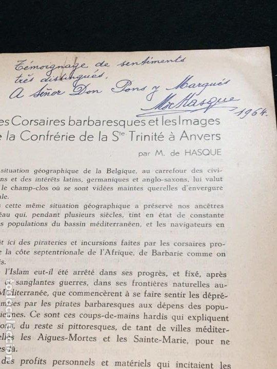 Libros antiguos: Maurice de Hasque. Les Corsaires Barbaresques et les.., Dedicatoria Autógrafa. Anvers, 1936. - Foto 2 - 195474665