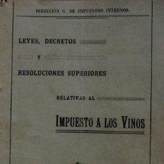 Libros antiguos: URUGUAY FOLLETO CONTROL E IMPUESTO A LOS VINOS NACIONALES 1916 VITICULTURA LEYES Y DISPOSICIONES . Lote 195482492