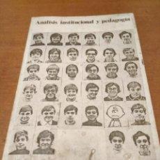 Libros antiguos: ANÁLISIS INSTITUCIONAL Y PEDAGOGÍA. Lote 195513291