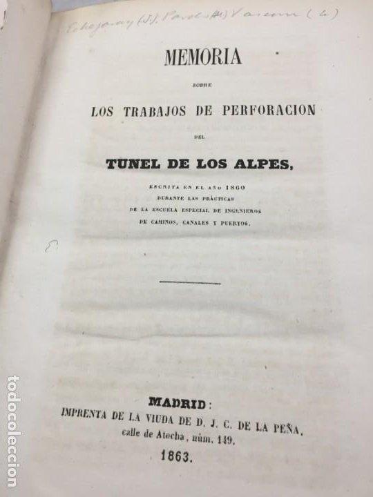 MEMORIA SOBRE LOS TRABAJOS DE PERFORACION DE TUNEL DE LOS ALPES, LÁMINAS DESPLEGABLES 1863 (Libros Antiguos, Raros y Curiosos - Ciencias, Manuales y Oficios - Otros)