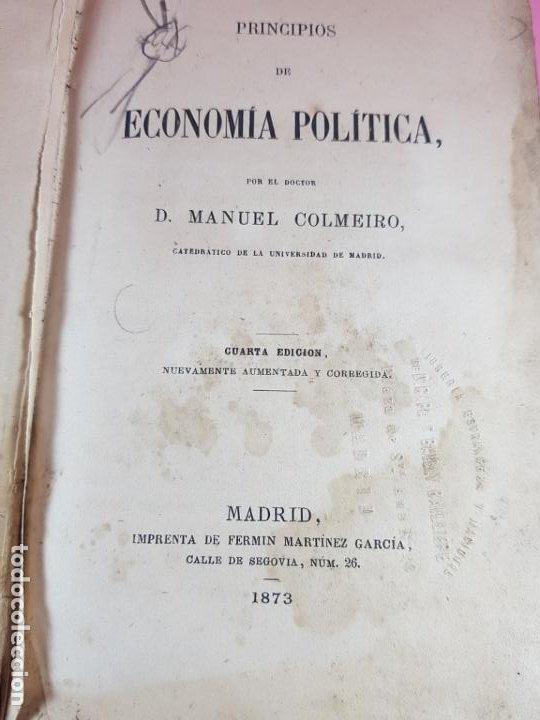 Libros antiguos: LIBRO-ECONOMÍA POLÍTICA-MANUEL COLMEIRO-1873-VER FOTOS - Foto 7 - 195672025