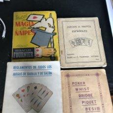 Libros antiguos: CUATRO LIBRITOS CON REGLAMENTOS DE JUEGOS DE CARTAS DIFERENTES ÉPOCAS AÑOS 30 40. Lote 195718172