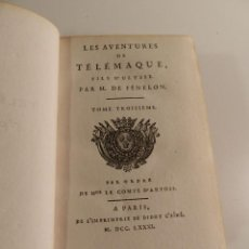 Libros antiguos: LES AVENTURES DE TÉLÉMAQUE FILS D'ULYSSE SALIGNAC - MOTHE FÉNELON MDCCLXXXI 1781 EN FRANCÉS ULISES. Lote 195951351