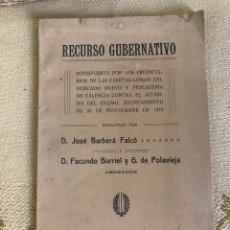 Libros antiguos: RECURSO GUBERNATIVO PROPIETARIOS CASETAS LONJAS DEL MERCADO DE VALENCIA 1916. Lote 195981211