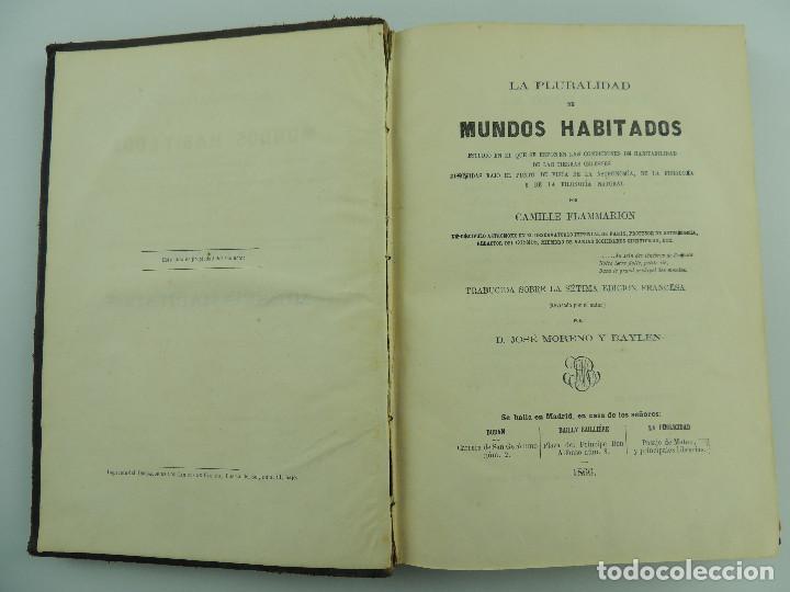 LA PLAURALIDAD DE MUNDOS HABITOS POR CAMILE FLAMMARION AÑO 1866 (Libros Antiguos, Raros y Curiosos - Literatura - Otros)