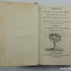 Livres anciens: OBRAS DEL FRAY LUIS DE LEON DE LA ORDEN DE SAN AGUSTIN TOMO V. Lote 196589657