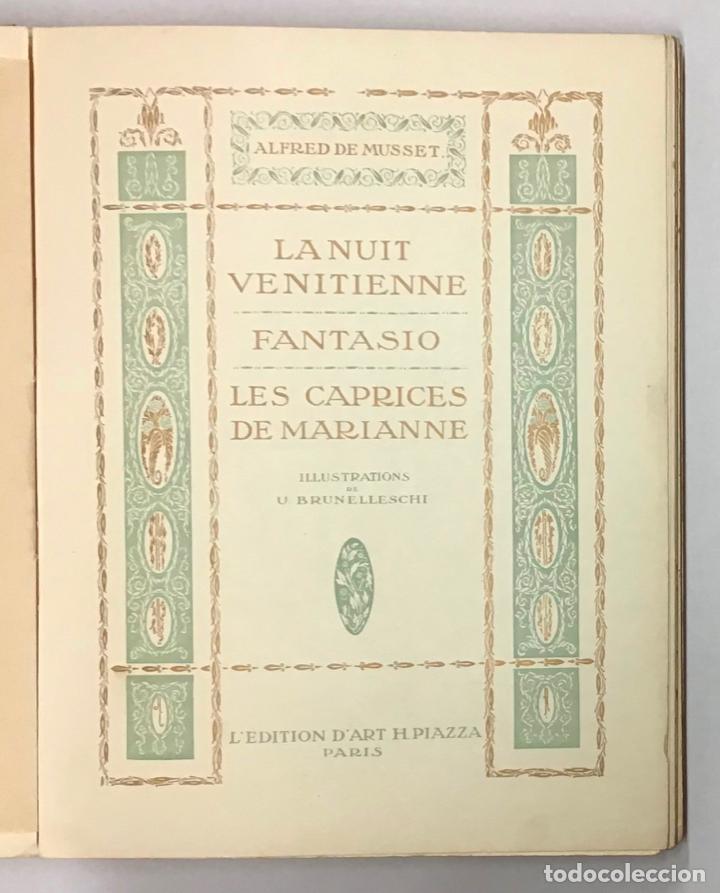 Libros antiguos: LA NUIT VENITIENNE. FANTASIO. LES CAPRICES DE MARIANNE. - MUSSET, Alfred de. - Foto 2 - 196642612