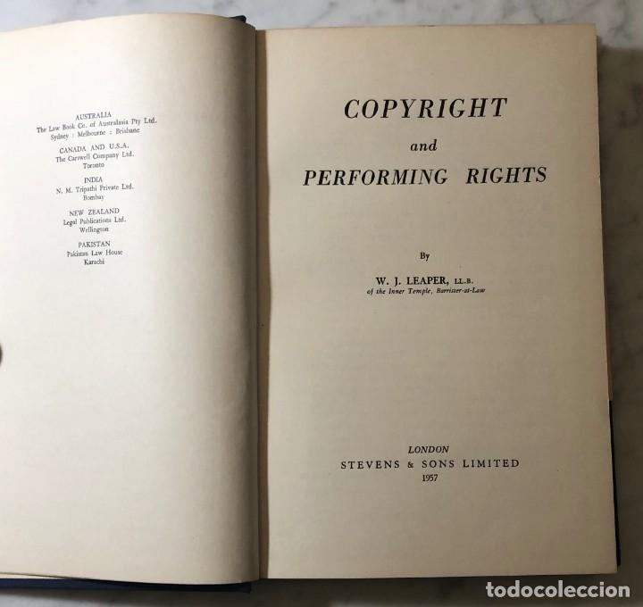 COPYRIGHT AND PERFORMING RIGHT-1957(33€) (Libros Antiguos, Raros y Curiosos - Otros Idiomas)