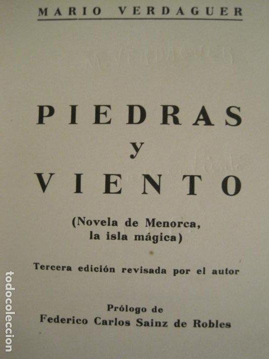 Libros antiguos: PIEDRAS Y VIENTO-MARIO VERDAGUER-MENORCA-VER FOTOS-(V-19.400) - Foto 2 - 196801326