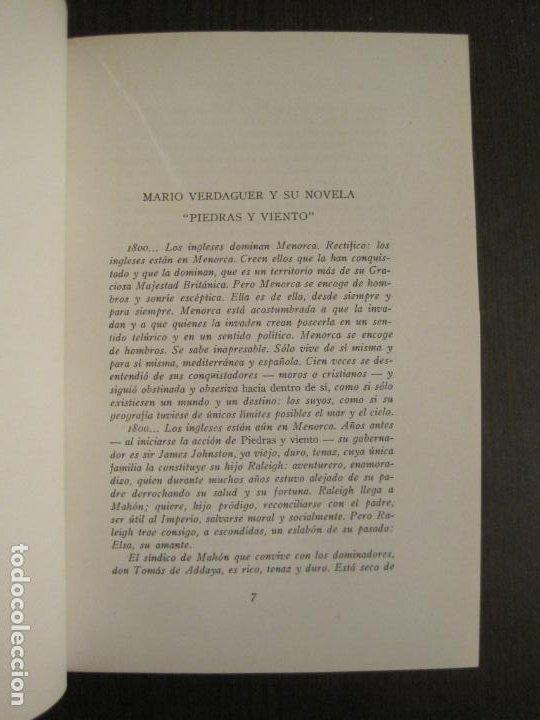 Libros antiguos: PIEDRAS Y VIENTO-MARIO VERDAGUER-MENORCA-VER FOTOS-(V-19.400) - Foto 9 - 196801326