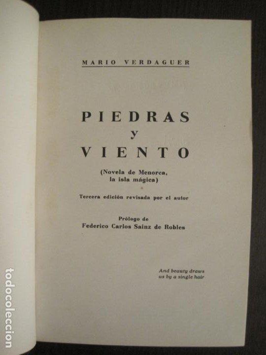 PIEDRAS Y VIENTO-MARIO VERDAGUER-MENORCA-VER FOTOS-(V-19.400) (Libros Antiguos, Raros y Curiosos - Literatura - Otros)