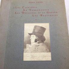 Libros antiguos: GOYA LOS CAPRICHOS LA TAUROMAQUIA LOS DESASTRES DE LA GUERRA PROVERBIOS CATALOGO PEDRO VINDEL 1928. Lote 196919217